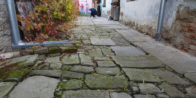 In this picture taken on Monday Oct. 26, 2015, Tomas Jelinek looks at pavement made of tombstones in efforts to restore a former Jewish cemetery in Prostejov, Czech Republic.