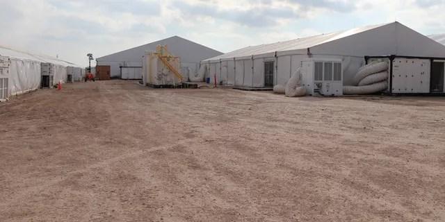 Soft-sided migrant facilities in Texas. (Adam Shaw/Fox News)