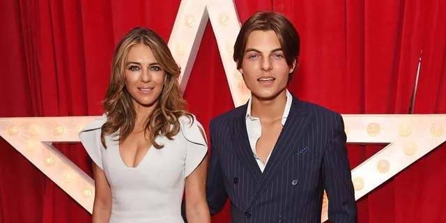 """Elizabeth Hurley and son Damian Hurley attend the World Premiere of """"Paddington 2"""" at Odeon Leicester Square."""