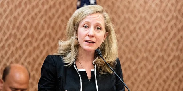 """Virginia Rep. Abigail Spanberger speaking at a press conference sponsored by the Problem Solvers Caucus and the Common Sense Coalition to announce """"principles for legislation to lower prescription drug prices"""" at the US Capitol in Washington, DC. (Photo by Michael Brochstein/SOPA Images/LightRocket via Getty Images)"""
