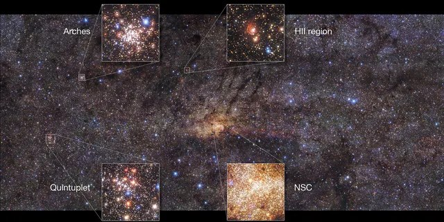 This beautiful image of the Milky Way's central region, taken with the HAWK-I instrument on ESO's Very Large Telescope, shows interesting features of this part of our galaxy. This image highlights the Nuclear Star Cluster (NSC) right in the center and the Arches Cluster, the densest cluster of stars in the Milky Way. Other features include the Quintuplet cluster, which contains five prominent stars, and a region of ionized hydrogen gas (HII). (Credit: ESO/Nogueras-Lara et al.)