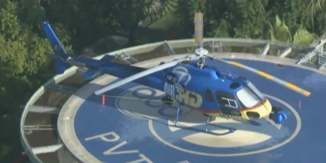 KABC's news chopper AIr7HD can be seen after it landed after collided with a drone on Wednesday.