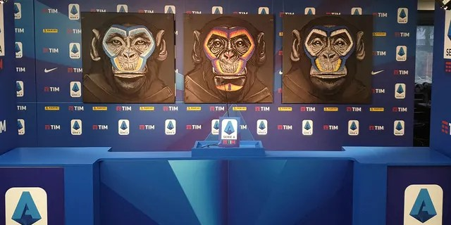 "Anti-racism campaign artwork by Italian artist Simone Fugazzotto, featuring three side-by-side paintings of apes, is presented by Italian soccer league Serie A during a news conference in Milan, Italy, on Tuesday. Fare, a soccer anti-discrimination group, says the images are ""counter-productive and [will] continue the dehumanization of people of African heritage."""
