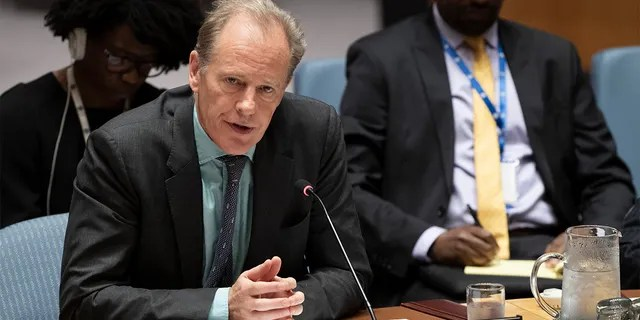 In this June 14, 2019, photo provided by the United Nations, Andrew Gilmour, assistant secretary-general for human rights, addresses the Security Council meeting on the situation in Sudan and South Sudan at U.N. headquarters. (Evan Schneider/United Nations via AP)