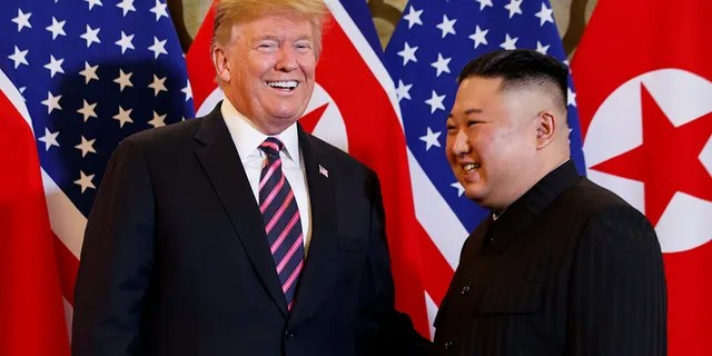 President Donald Trump and North Korean leader Kim Jong Un are seen in Hanoi, Vietnam, February 27, 2019. (Associated Press)