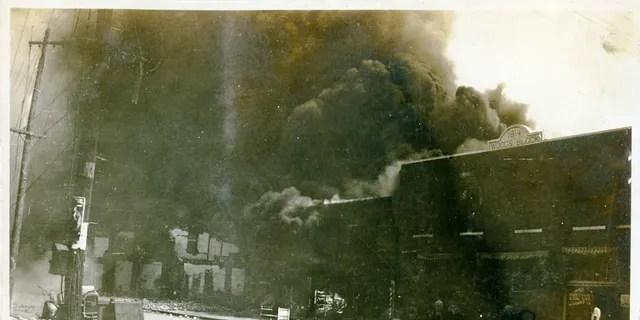 Photograph of damage from the Tulsa Race Riot, Tulsa, Oklahoma, June 1921.