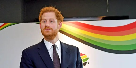 Britain's Prince Harry attends the UK Africa Investment Summit in London on Monday, Jan. 20, 2020. Britain's Prime Minister Boris Johnson is hosting 54 African heads of state or government in London, as the U.K. prepares for post-Brexit dealings with the world.