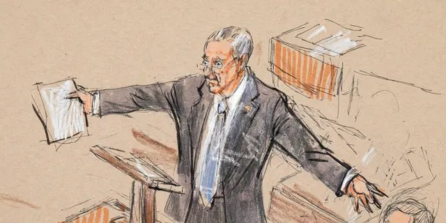 This artist sketch depicts Senate Minority Leader Chuck Schumer, D-N.Y., speaking in the Senate chamber during the impeachment trial against President Donald Trump on charges of abuse of power and obstruction of Congress, at the Capitol in Washington, Tuesday, Jan. 21, 2020. (Dana Verkouteren via AP)