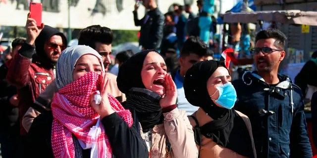 Anti-government protesters gather in Tahrir Square in Baghdad, Iraq, Sunday, Jan. 26, 2020.