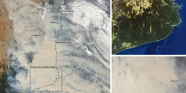 The images show thick smoke over large parts of the country.