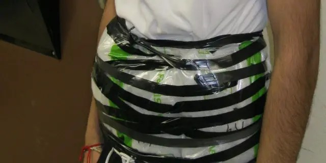 A 14-year-old boy was caught at the U.S.-Mexico border withcrystal methamphetamine strapped to his waist Monday night, authorities said.