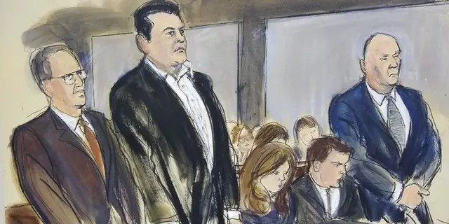 Andrey Kukushkin, second from left, and David Correia, far right, appear at a court hearing for conspiracy charges Thursday in New York. (Elizabeth Williams via AP)
