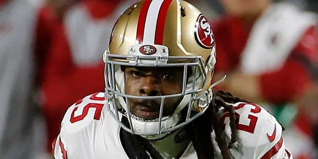 FILE - In this Oct. 31, 2019, file photo, San Francisco 49ers cornerback Richard Sherman (25) plays during the first half of an NFL football game against the Arizona Cardinals, in Glendale, Ariz. Two of the best at their jobs will meet once again in the NFC championship game when Green Bay quarterback Aaron Rodgers must decide how much to challenge San Francisco cornerback Richard Sherman.