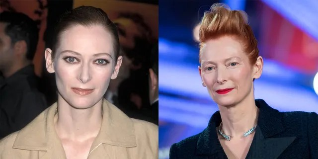 """Tilda Swinton at """"The Beach"""" premiere (left) and at theMarrakech International Film Festival in December 2019 (right)."""