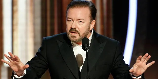 This image released by NBC shows host Ricky Gervais speaking at the 77th Annual Golden Globe Awards at the Beverly Hilton Hotel in Beverly Hills, Calif., on Sunday, Jan. 5, 2020.