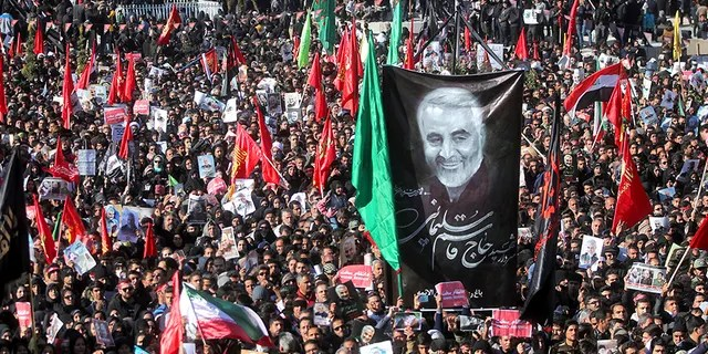 """The leader of Iran's Revolutionary Guard threatened on Tuesday to """"set ablaze"""" places supported by the United States over the killing of Gen. Qassem Soleimani last week. (AP/Tasnim News Agency)"""