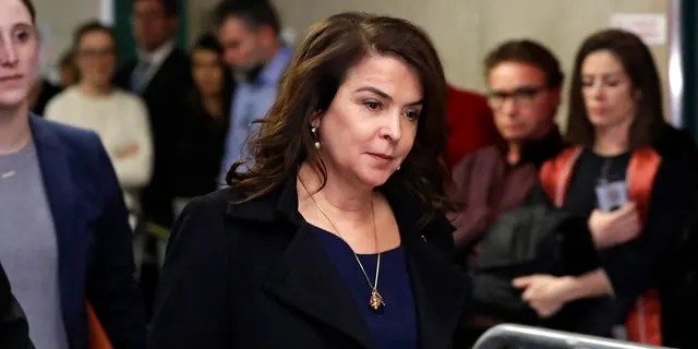 In this Thursday, Jan. 23, 2020 file photo, actress Annabella Sciorra returns after a lunch break in Harvey Weinstein's rape trial in New York.