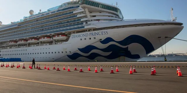 The quarantined Diamond Princess cruise ship is shown in Yokohama, near Tokyo, Feb. 11, 2020. (Associated Press)