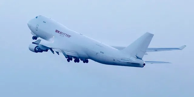 An airplane chartered by the U.S. government taking off at Haneda Airport in Tokyo with U.S. passengers who were aboard the quarantined cruise ship. (Sadayuki Goto/Kyodo News via AP)