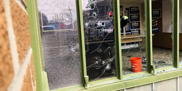 Windows were shattered at the Salt Lake City campaign office and multiple rocks were found inside