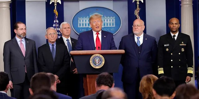 President Donald Trump speaks about the coronavirus in the press briefing room at the White House, Feb. 29, in Washington as Health and Human Services Secretary Alex Azar, National Institute for Allergy and Infectious Diseases Director Dr. Anthony Fauci, Vice President Mike Pence, Robert Redfield, director of the Centers for Disease Control and Prevention and U.S. Surgeon General Dr. Jerome Adams listen. (AP Photo/Carolyn Kaster)