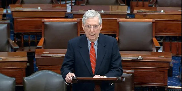 In this image from video, Senate Majority Leader Mitch McConnell, R-Ky., speaks on the Senate floor at the U.S. Capitol in Washington, D.C., on March 21, 2020. (Senate Television via AP)