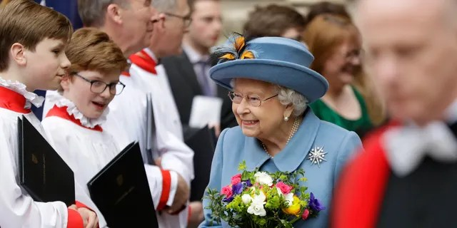 Britain's Queen Elizabeth II leaves after attending the annual Commonwealth Day service at Westminster Abbey in London, Monday, March 9, 2020. The annual service, organized by the Royal Commonwealth Society, is the largest annual inter-faith gathering in the United Kingdom.