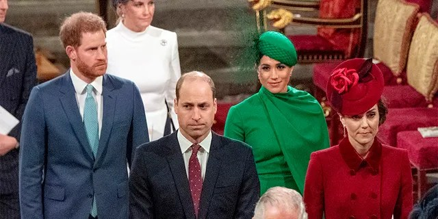Prince Harry, Duke of Sussex, Meghan, Duchess of Sussex, Prince William, Duke of Cambridge, Catherine, Duchess of Cambridge and Prince Charles, Prince of Wales attend the Commonwealth Day Service 2020 on March 9, 2020 in London, England.
