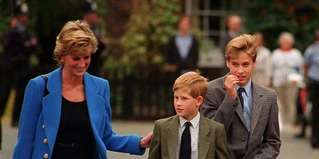 Prince William (R) arrives with Diana, Princess of Wales (L) and Prince Harry (C) for his first day at Eton College, September 16, 1995, in Windsor, England.