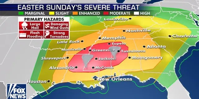 A severe weather epidemic is predicted for Easter Sunday in the southeast, with the greatest threats in Louisiana, Mississippi and Alabama.