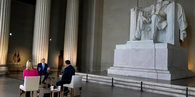 President Donald Trump speaks during a Fox News virtual town hall from the Lincoln Memorial, Sunday, May 3, 2020, in Washington, co-moderated by FOX News anchors Bret Baier and Martha MacCallum. (AP Photo/Evan Vucci)