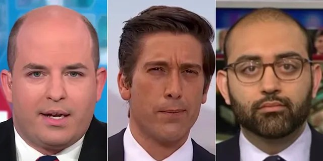 "CNN's in-house media critics, Brian Stelter (left) and Oliver Darcy, condemned ABC's David Muir (center), saying he missed ""an opportunity to prosecute"" President Trump."
