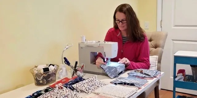 One of Work N'Gear's senior regional managers, Kelly Hernandez, has made hundreds of masks from the comfort of her home for the retailer's employees, their families, and most recently for other businesses that are preparing to reopen in Massachusetts.