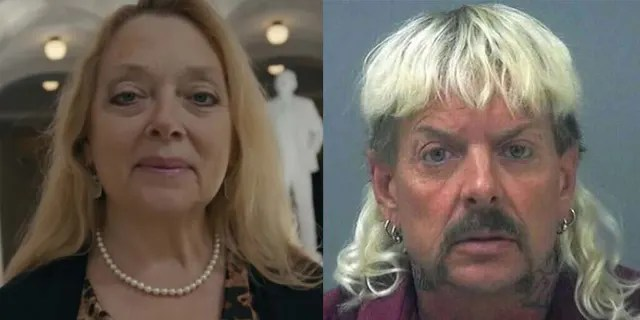 Carole Baskin (L) and Joe Exotic (R) from Netflix documentary 'Tiger King'.