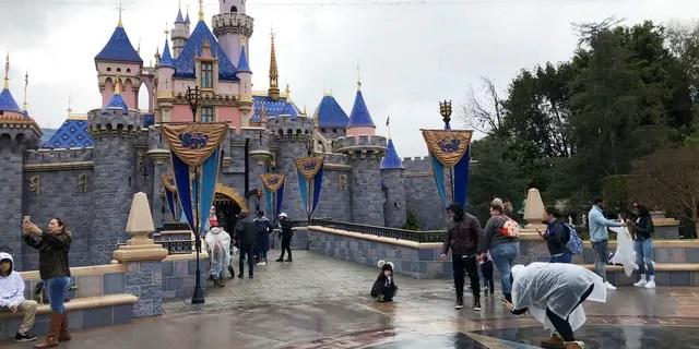 ФАЙЛ: посетители фотографируются в Диснейленде в Анахайме, штат Калифорния.