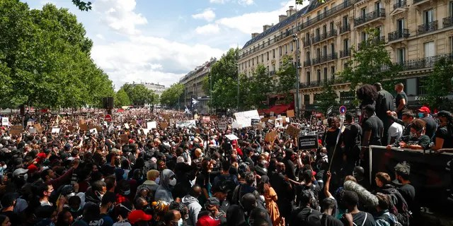 A demonstration against police brutality and racism in Paris this past Saturday. (AP Photo/Thibault Camus)
