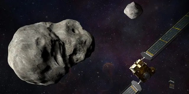 Illustration of NASA's DART spacecraft and the Italian Space Agency's (ASI) LICIACube prior to impact at the Didymos binary system. (Credits: NASA/Johns Hopkins APL/Steve Gribben)