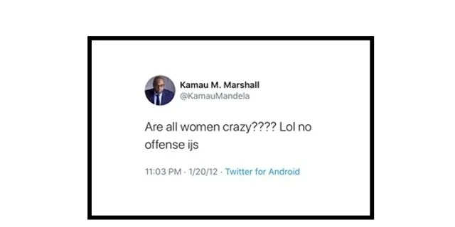 "1a83af47 crazy Joe Biden's head of strategic communications, Kamau M. Marshall, has  posted several sexist messages on social media over the past decade, beginning with a Christmas Eve 2011 tweet in which he expressed his affection for ""power women"" – as long as she ""know her place"" and he can ""where  the pants."""
