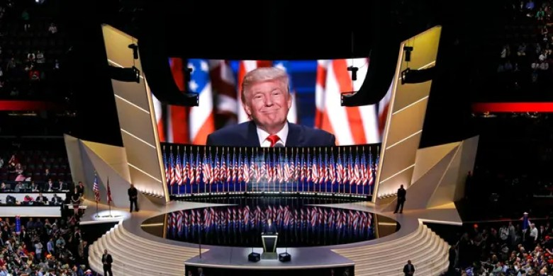 FILE - In this July 21, 2016, file photo Republican presidential candidate Donald Trump smiles as he addresses delegates during the final day session of the Republican National Convention in Cleveland. (AP Photo/Patrick Semansky, File)