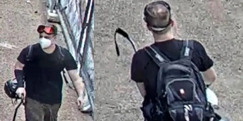 A screengrab of surveillance camera footage of Jason Charter, who the FBI accuses of destruction offederalproperty related to damage to monuments.