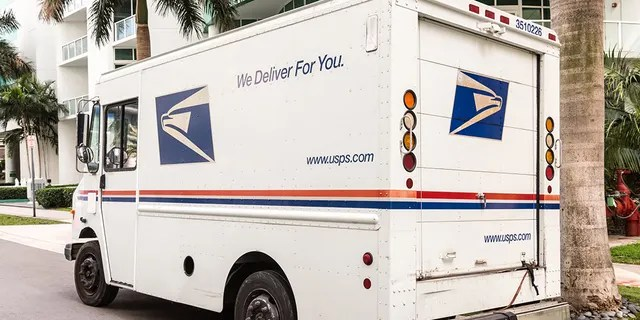 United States Post Office mail truck (USPS) parked in Miami, Florida