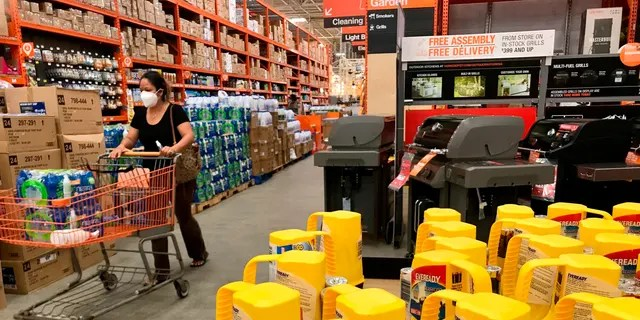 Home Depot's aisles are filled with hurricane supplies as Hurricane Isaias nears South Florida on Friday, July 31, 2020 in Boynton Beach, Fla. Isaias is expected to stay east of the coast, but this will cause winds and possible flooding. (Amy Beth Bennett / South Florida Sun-Sentinel via AP)