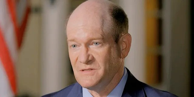 In this image from video, Sen. Chris Coons, D-Del., delivers a nominating speech during the second night of the Democratic National Convention on Tuesday, Aug. 18, 2020. Coons will visit Taiwan Sunday, according to the American Institute in Taiwan (Democratic National Convention via AP)