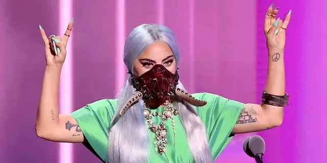 """Lady Gaga accepts the song of the year award for 'Rain on Me'"""" onstage during the 2020 MTV Video Music Awards, broadcast on Sunday, August 30th 2020. (Photo by Kevin Winter/MTV VMAs 2020/Getty Images for MTV)"""