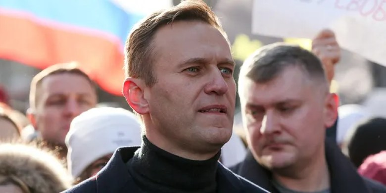 Alexey Navalny, the Russian opposition leader, walking with demonstrators during a rally in Moscow in February 2019.