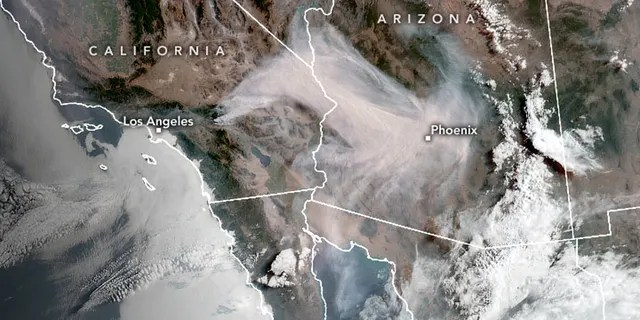 Smoke from the Apple Fire can be seen in this satellite image from NASA.