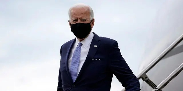 Democratic presidential nominee Joe Biden arrives at the Allegheny County Airport in West Mifflin, Pa., en route to a campaign event in Pittsburgh, Aug. 31, 2020. (Associated Press)