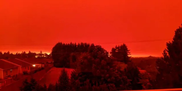 Salem, Ore.  This photo, taken from Ras Kasselaar's house in I, shows the smoky sky well before sunset on Tuesday, September 8, 2020, at 5 pm.  (The Associated Press)
