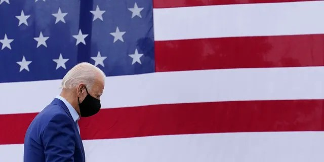 Democratic presidential candidate former Vice President Joe Biden departs after speaking at a campaign event on manufacturing American products at UAW Region 1 headquarters in Warren, Mich., Wednesday, Sept. 9, 2020. (AP Photo/Patrick Semansky)