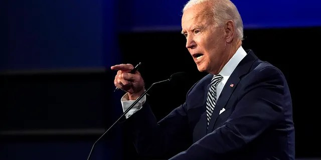 Democratic presidential candidate former Vice President Joe Biden speaks during the first presidential debate Tuesday, Sept. 29, 2020, at Case Western University and Cleveland Clinic, in Cleveland, Ohio. (AP Photo/Julio Cortez)